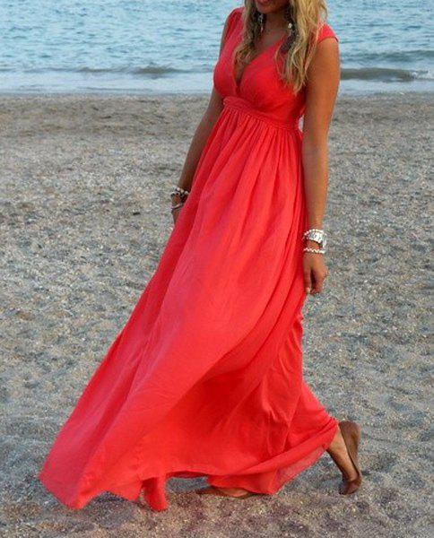 Images of Solid Color Maxi Dresses - Reikian