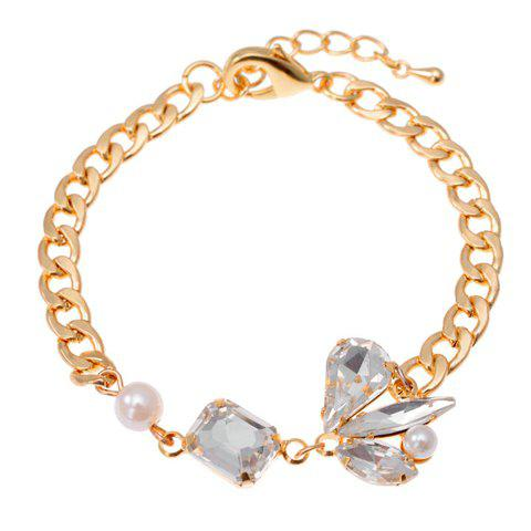 Stylish Chic Faux Pearl Rhinestone Leaf Bracelet For Women - GOLDEN