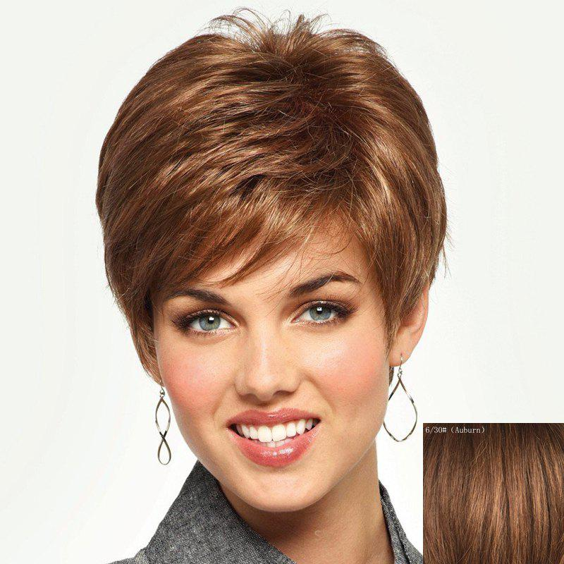 Towheaded Simple Human Hair Short Side Bang Fashion Spiffy Straight Capless Wig For Women - /3