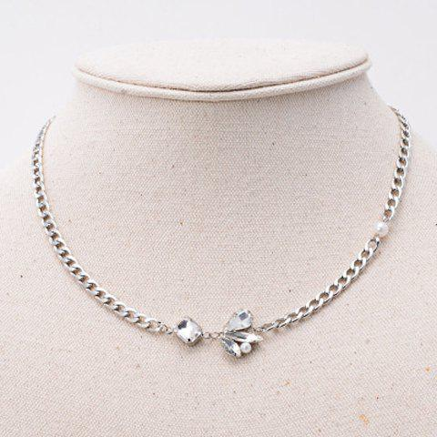 Beads Flower Pendant Necklace - SILVER