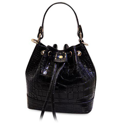Fashion Style Crocodile Print and String Design Tote Bag For Women - BLACK