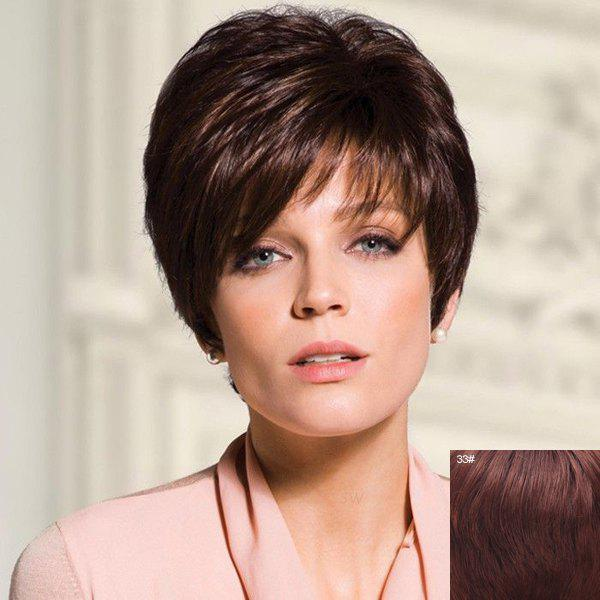 Noble Elegant Short Straight Side Bang Capless Super Quality Human Hair Women's Bouffant Wig - 33