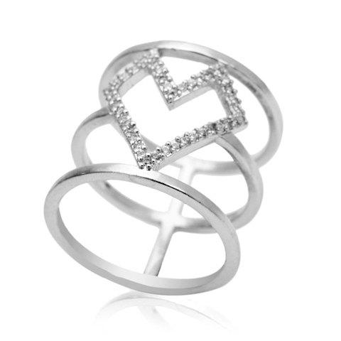 Simple Cute Hollow Rhinestone Ring For Women - SILVER ONE-SIZE