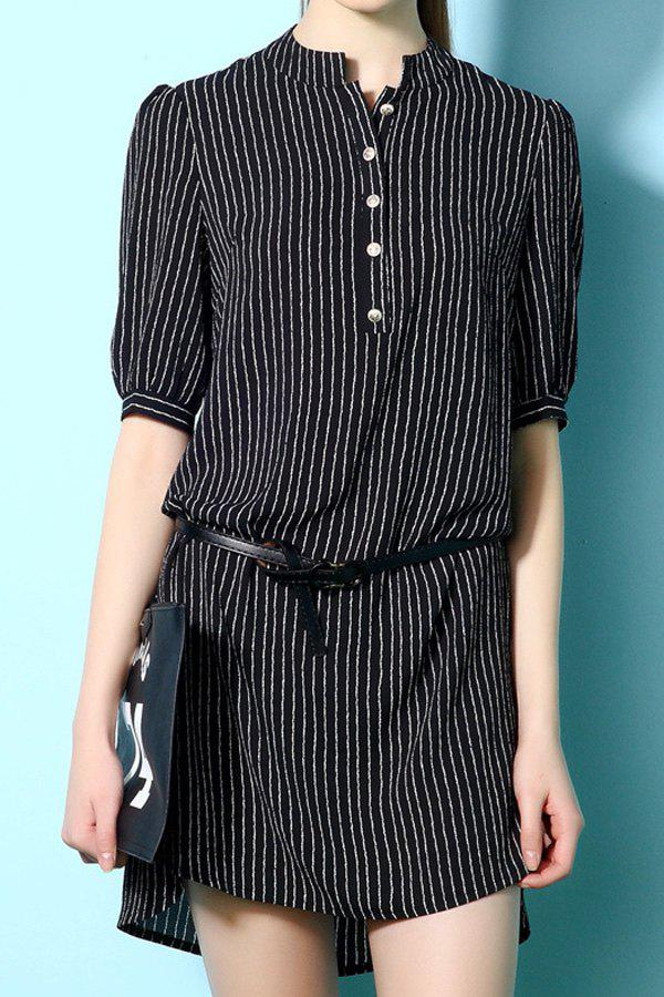 Stylish Stand Neck Half Sleeve Stripe Women's Dress - BLACK S