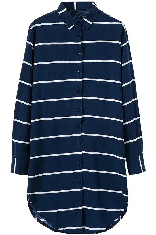 Fashionable Polo Collar Stripe Long Sleeve Shirt Dress For Women - BLUE M