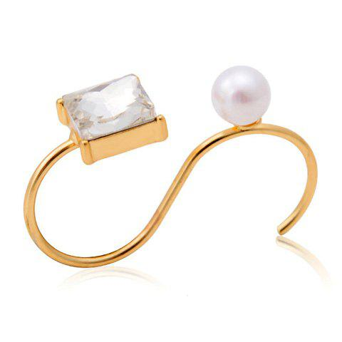 Trendy Cute Faux Pearl Cuff Ring For Women - GOLDEN ONE-SIZE