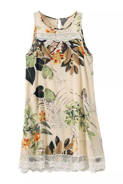 Ethnic Style Sleeveless Lace Splicing Floral Print Dress For Women - BEIGE S