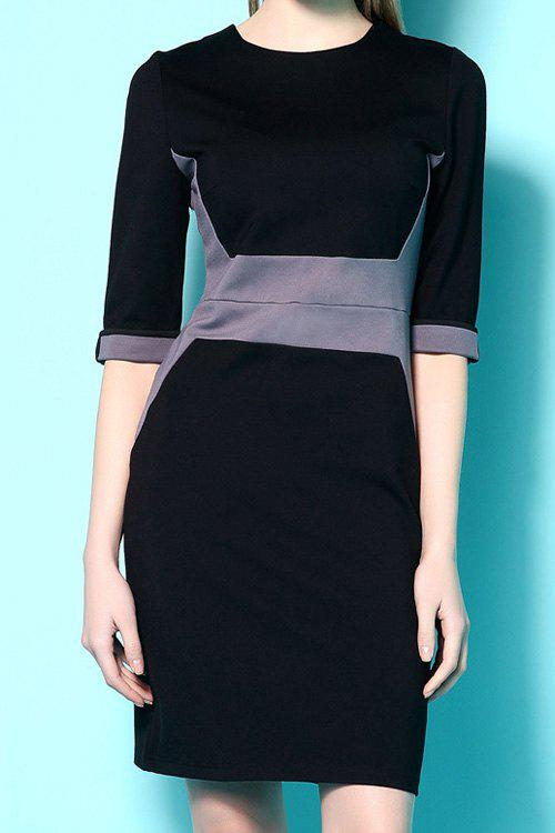 Stylish Round Neck Half Sleeves Color Block Women's Dress - BLACK XL