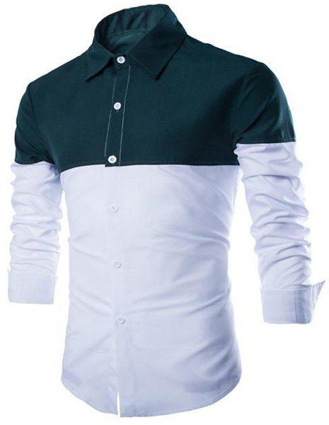Slimming Shirt Collar Stylish Color Block Splicing Long Sleeve Cotton Blend Men's Shirt