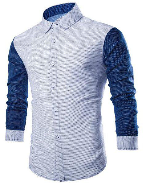 Slimming Shirt Collar Trendy Polka Dots Print Long Sleeve Cotton Blend Men's Shirt - M WHITE