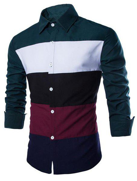 Slimming Shirt Collar Stylish Multicolor Splicing Long Sleeve Cotton Blend Men's Shirt - BLACKISH GREEN XL