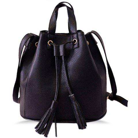 Stylish Tassels and PU Leather Design Crossbody Bag For Women - BLACK