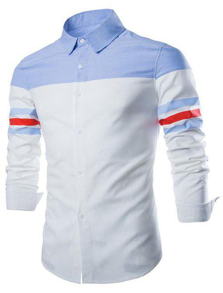 Slimming Shirt Collar Fashion Refreshing Color Splicing Long Sleeve Cotton Blend Men's Shirt