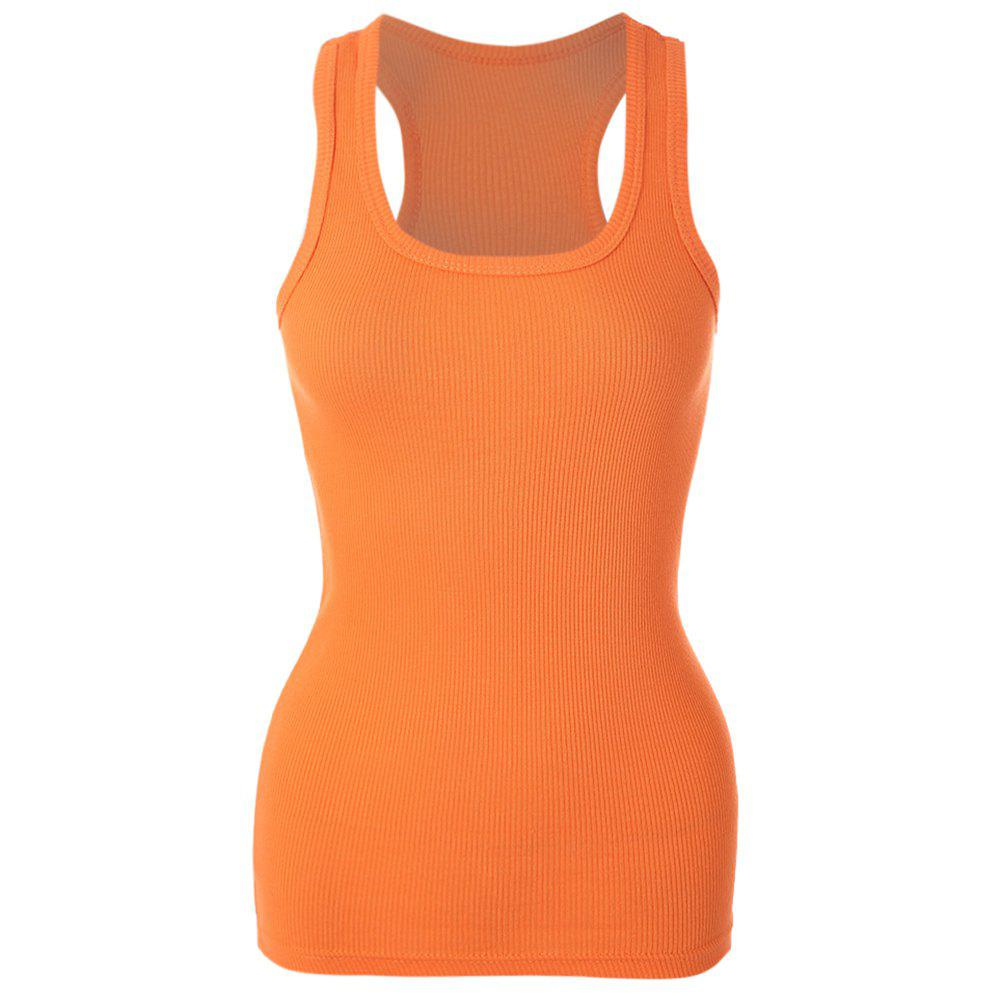 Simple Design Scoop Collar Bodycon Solid Color Racerback Women's Tank Top