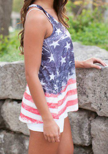 Stylish Scoop Neck Star and Stripe Print Women's Tank Top - COLORMIX L