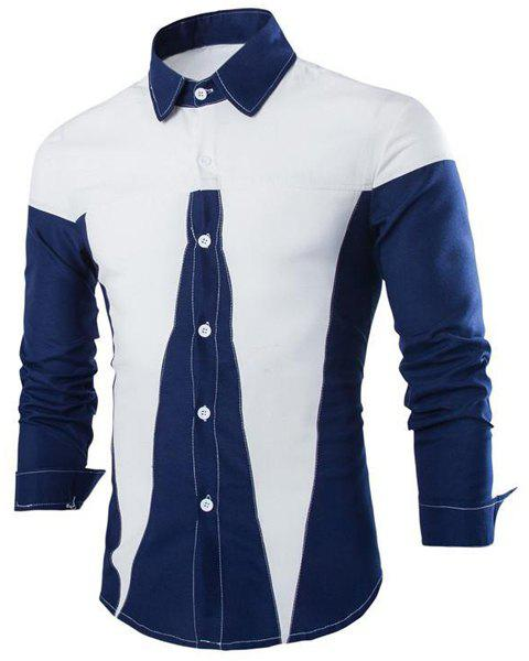 Slimming Shirt Collar Trendy Irregular Color Stitching Long Sleeve Cotton Blend Men's Shirt - CADETBLUE L