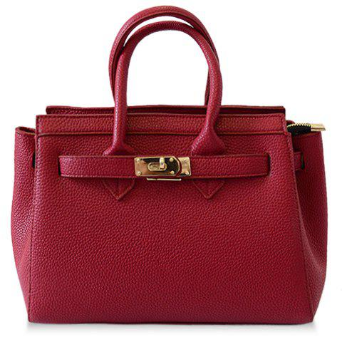 Fashion Rivets and Zipper Design Tote Bag for Women - WINE RED