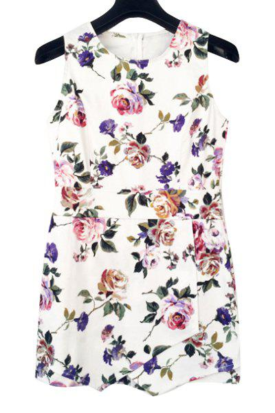 Sweet Style Jewel Neck Floral Print Sleeveless Playsuit For Women - WHITE S
