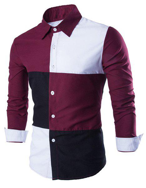 Slimming Shirt Collar Trendy Color Block Stitching Long Sleeve Cotton Blend Men's Shirt - RED/WHITE L