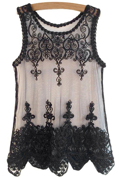 Fashionable Scoop Neck Black Lace Embroidery Sleeveless Tank Top For Women - BLACK ONE SIZE(FIT SIZE XS TO M)