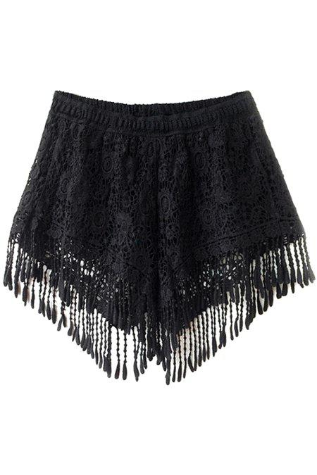 Sweet Style Solid Color Fringe Lace Shorts For Women