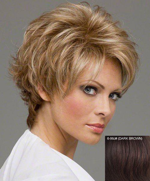 Fashion Human Hair Noble Charming Side Bang Fluffy Short Wave Capless Wig For Women - / J