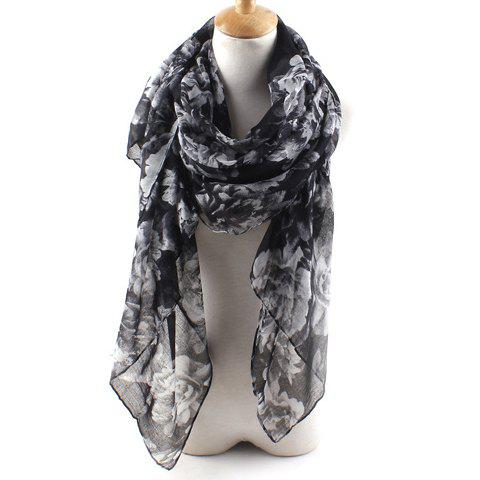 Chic Handpainted Flowers Pattern Multifunctional Women's Voile Scarf