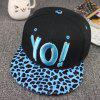Chic Letters Embroidery Leopard Pattern Brim Women's Baseball Cap - CADETBLUE