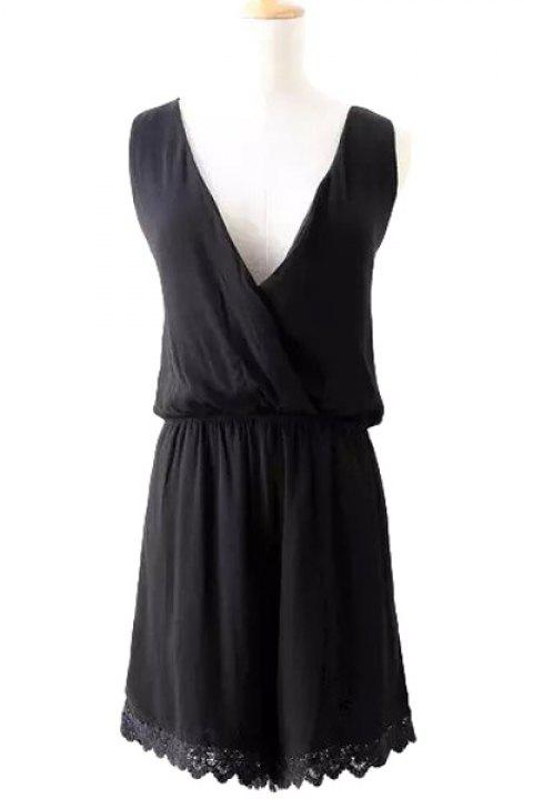 Fashionable V-Neck  Lace Splicing Solid Color Sleeveless Romper For Women - BLACK S