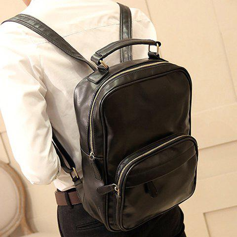 Preppy Style Solid Color and PU Leather Design Backpack For Men - BLACK