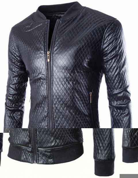 Slimming Stand Collar Fashion Argyle Design Rib Splicing Long Sleeve Men's PU Leather Coat - BLACK XL