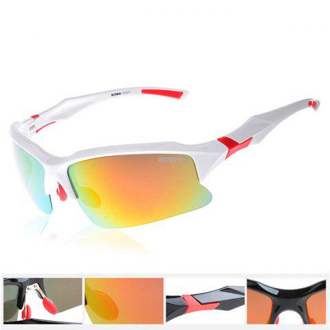 SCREW 9001 Unisex TAC Polarized Lens Anti-UV Sunglasses Goggles for Cycling Fishing Driving - WHITE/RED
