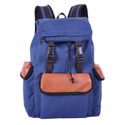 Fashion Splice and String Design Backpack For Men - BLUE