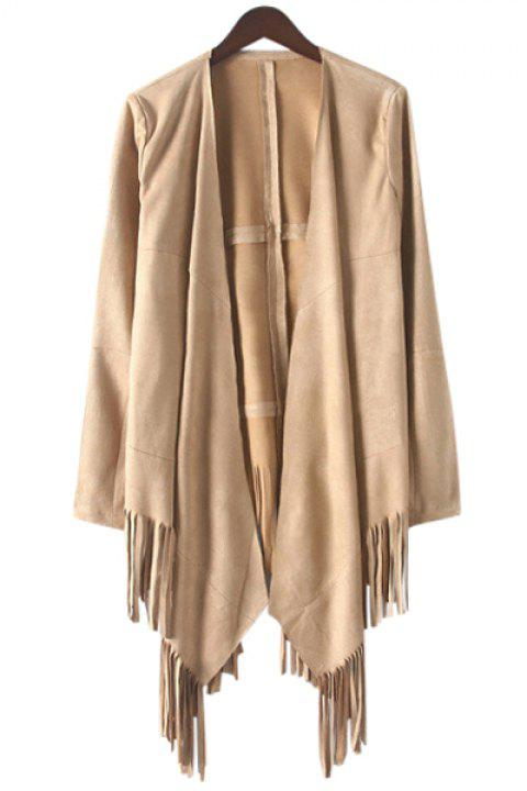 Fashionbale Collarless Solid Color Fringe Long Sleeve Trench Coat For Women - KHAKI S