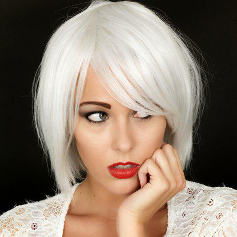 Heat Resistant Synthetic Shaggy Short Fashion Inclined Bang Straight Capless Silvery White Women's Wig - AS THE PICTURE