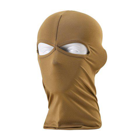 Sun Protective Wrapped Head Cap Mask with Double Orifice for Outdoor Cycling and Fishing etc. - BROWN