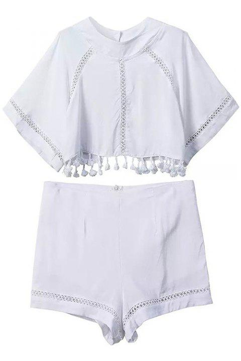 Sexy Style Jewel Neck Backless Tassel Splicing Short Sleeve Crop Top + Shorts For Women - WHITE S
