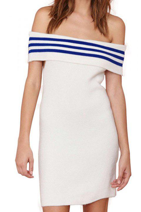 Stylish Slash Neck Striped Spliced Women's Sweater Dress - WHITE S