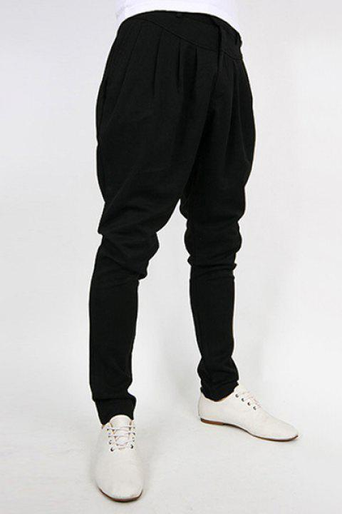 Trendy Slimming Solid Color Pleated Design Narrow Feet Cotton Blend Harem Pants For Men - BLACK 2XL