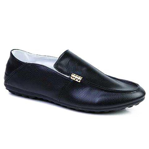 Stylish Style Solid Color and Round Toe Design Boat Shoes For Men - BLACK 41