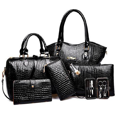 Crocodile Embossed Tote Handbag 6Pc Set - BLACK