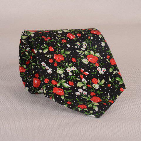 Stylish Fulled Various Flowers Leaves Dots Pattern Men's Tie - BLACK