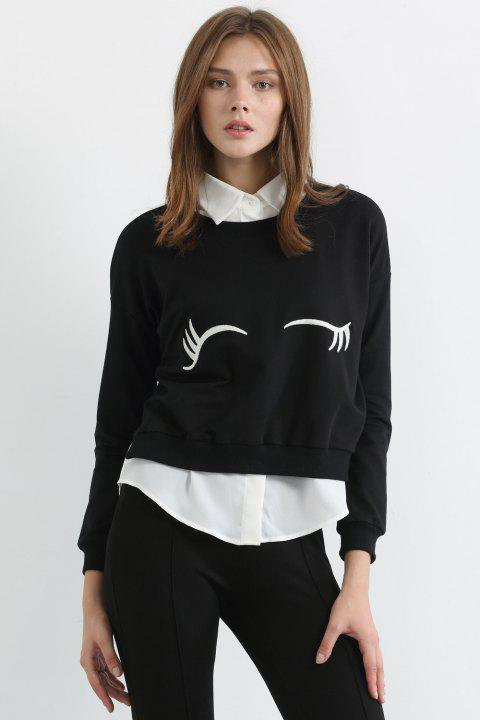 Fashionable Jewel Neck White Eyelash Print Long Sleeve Sweatshirt For Women - BLACK M