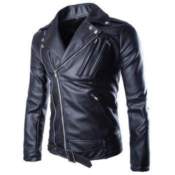 Slimming Lapel Stylish Solid Color Multi-Zipper Long Sleeve Men's PU Leather Jacket(with Belt) - BLACK L