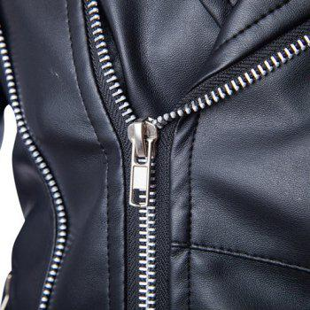 Slimming Lapel Stylish Solid Color Multi-Zipper Long Sleeve Men's PU Leather Jacket(with Belt) - L L