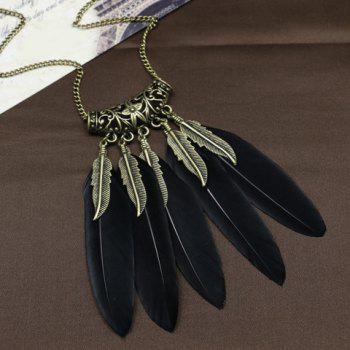 Boho Style Leaf Feather Tassel Sweater Chain