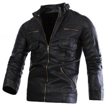 Slimming Stand Collar Trendy Solid Color Multi-Zipper Long Sleeve Men's PU Leather Jacket