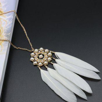Feather Tassel Faux Pearl Floral Sweater Chain -  WHITE