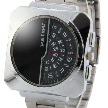 Paidu 58913 Male Rotational Scale Japan Quartz Watch Steel Strap Wristwatch -  BLACK