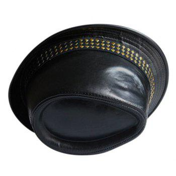 Stylish Rivets Embellished PU Leather Flanging Men's Hat - RANDOM COLOR PATTERN